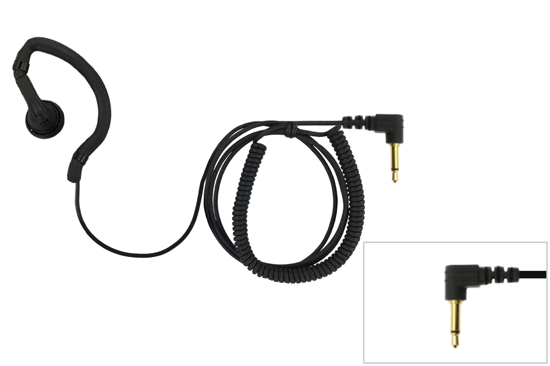 Earbud earpiece for RSM or radio with 3.5mm plug and long cable