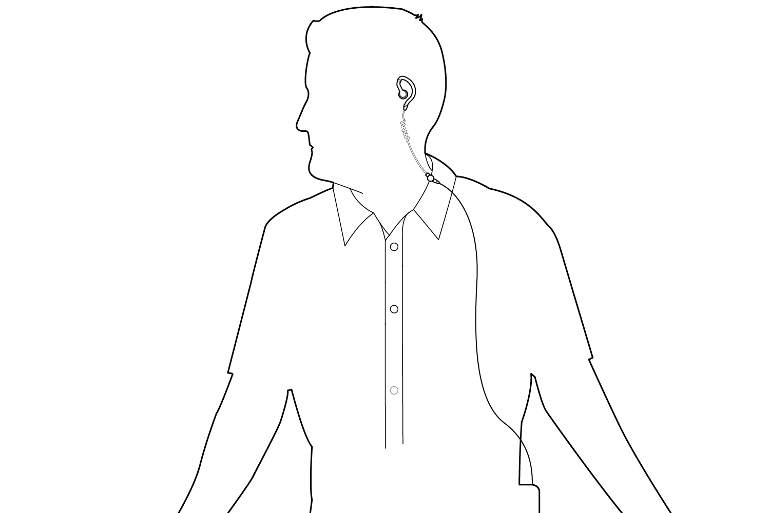 Wearing With Device on Belt Diagram