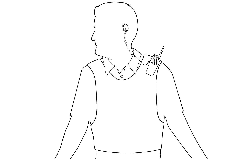 Wearing With Radio on Vest Diagram