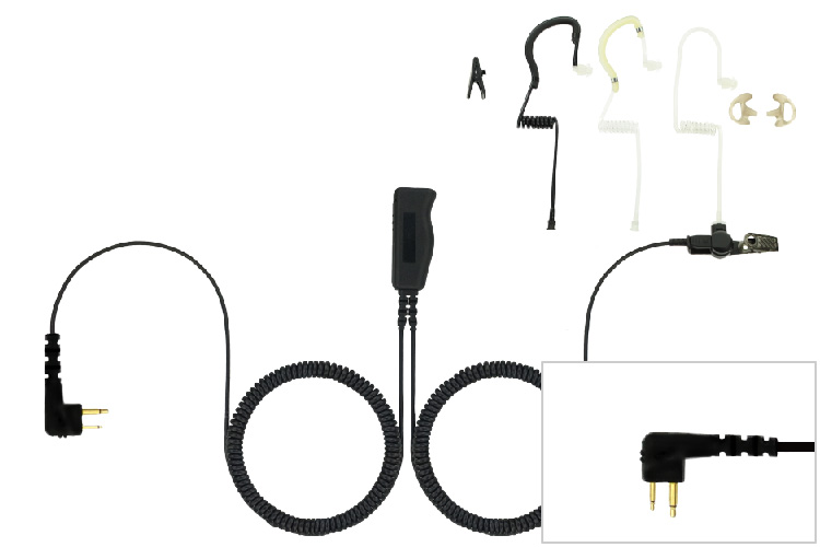 Two Wire Eartube Headset for Motorola Two pin radios